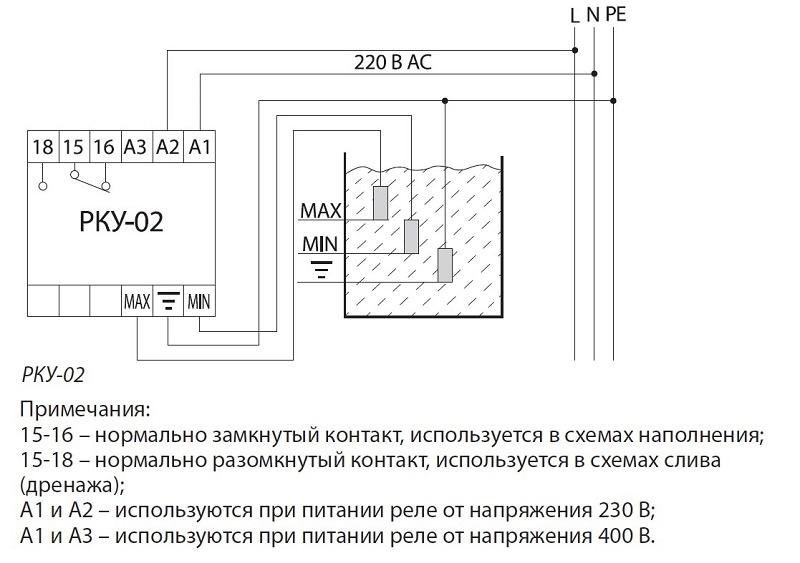 Реле контроля уровня РКУ-01-1нас/1рез/2ур/3датч-230В-8Ц (без датчиков) TDM