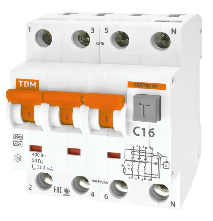 Дифференциальный автомат TDM-Electric АВДТ 63 B16 10мА SQ0202-0009 - фото 5