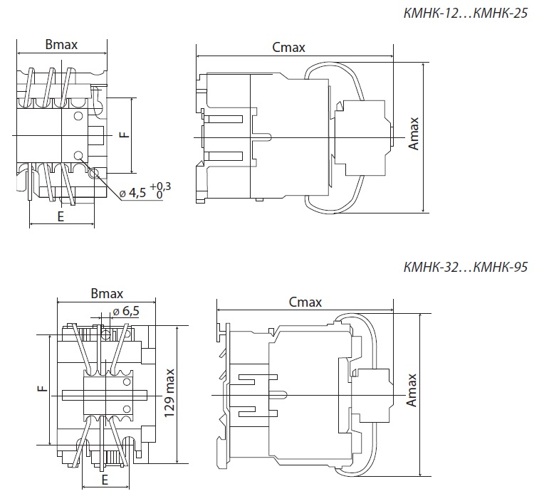 Контактор для коммутации конденсаторных батарей 60кВАр, КМНК-60-230.Б 2НО;1НЗ TDM