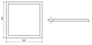 Светодиодная панель ЛП 01Т 595х595 Призма 25 мм встр. 3200 лм 40 Вт 4000 К белая, без ЭПРА, TDM